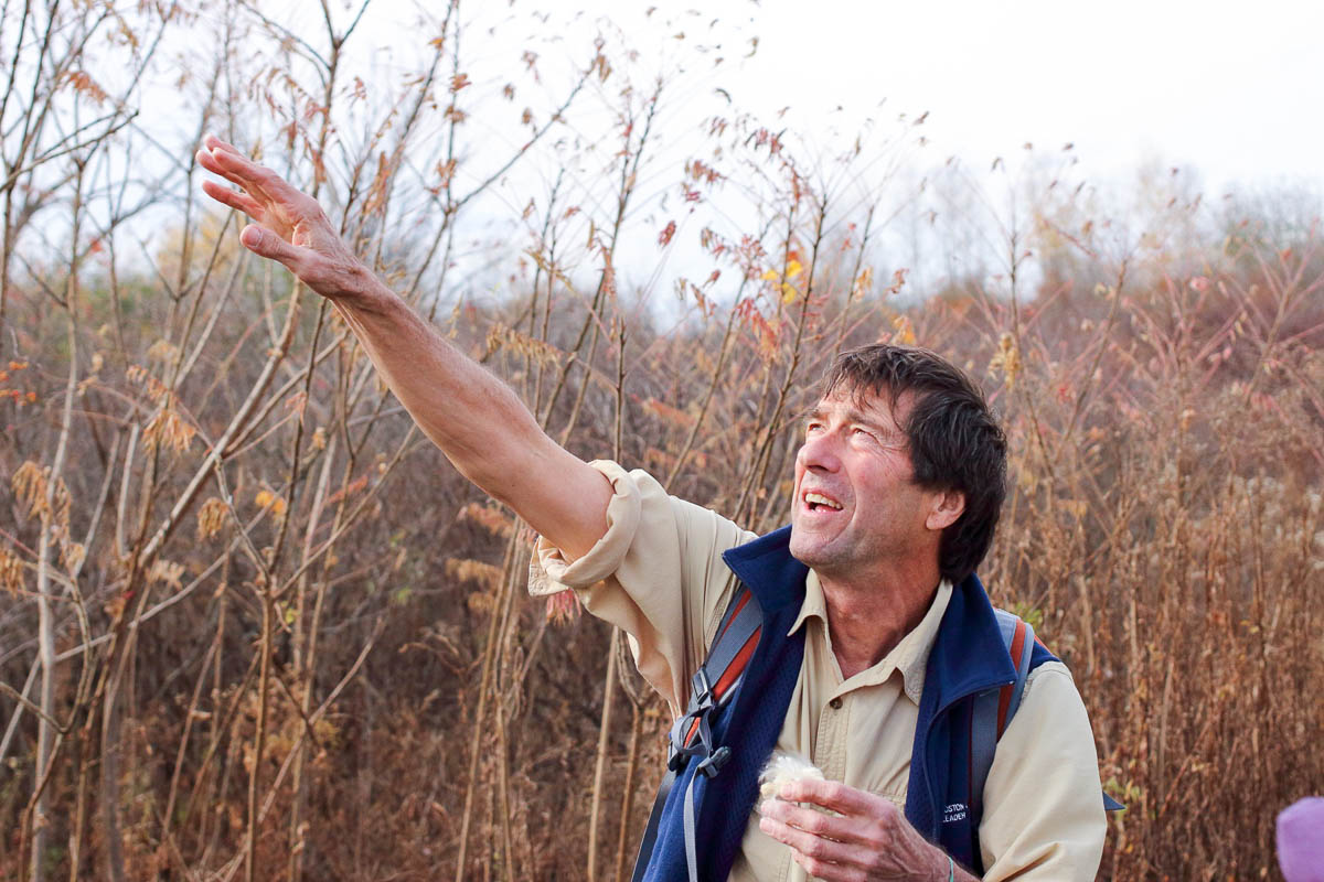 Boot Boutwell talks about milkweed at Mary Cummings Park