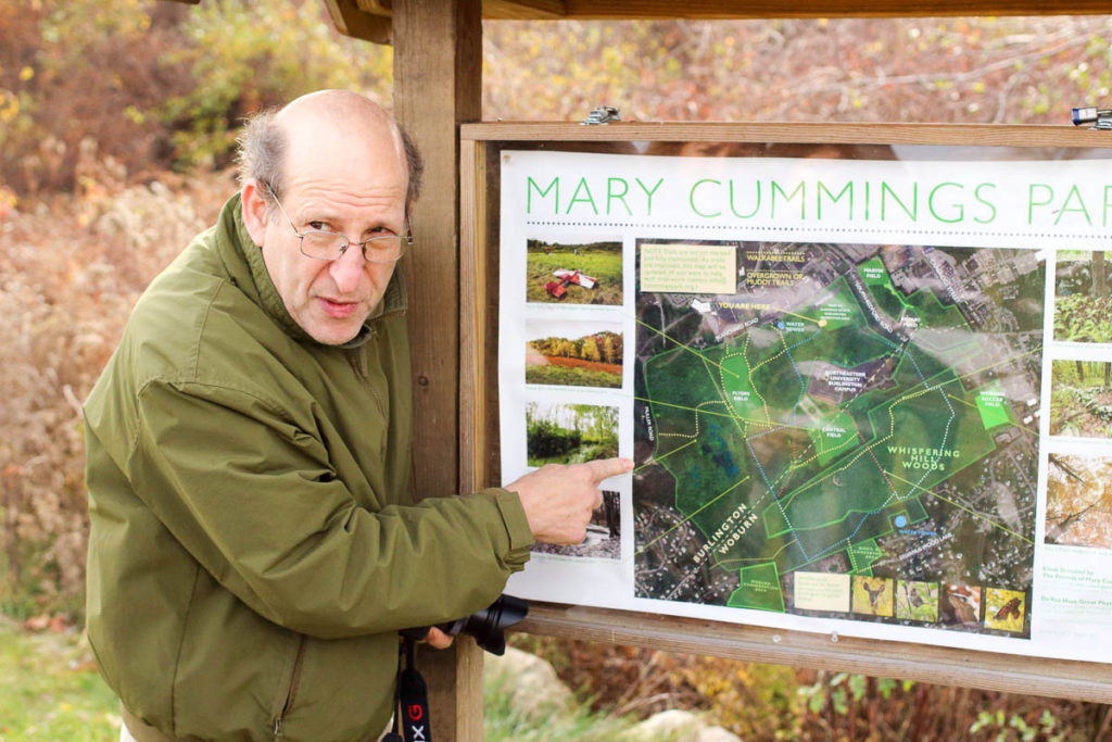 Jon Sachs points out locations on Mary Cummings Park map.