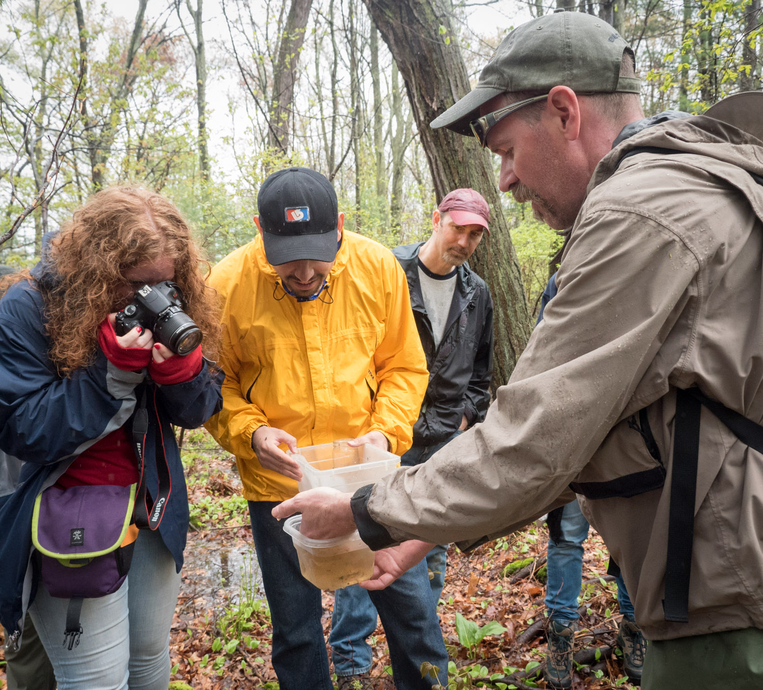 Photo op with tiny vernal pool specimen at Mary Cummings Park