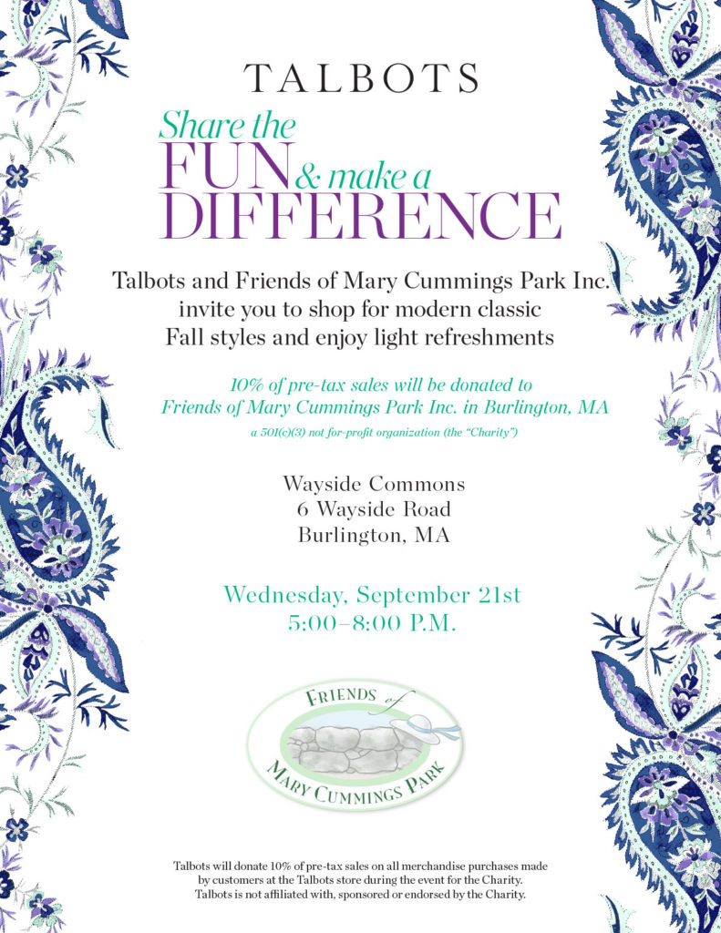 Talbots Fund raiser for Fiends of Mary Cummings Park